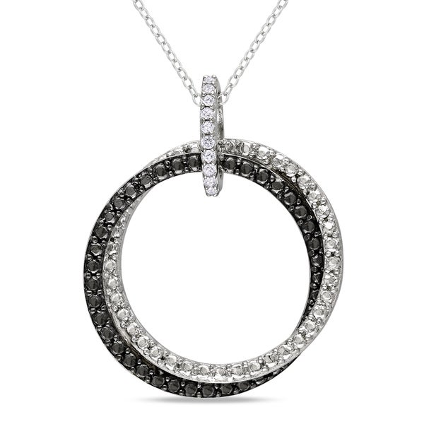 Miadora Sterling Silver White Diamond Accent Double Ring Necklace