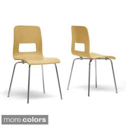 Greta Wood Modern Dining Chairs (Set of 2)
