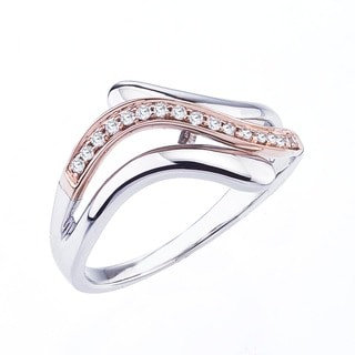 Sterling Silver and 10k Rose Gold 1/8ct TDW Diamond Ring (H-I, I1-I2)