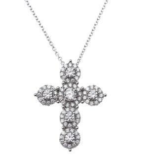 Rhodium-plated Sterling Silver Cubic Zirconia Cross Necklace
