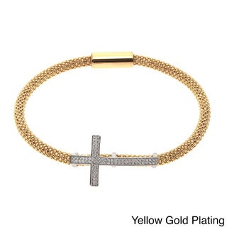 Sterling Silver Cubic Zirconia Sideways Cross Bangle Bracelet