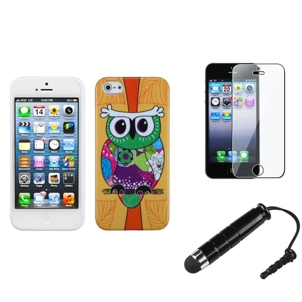 INSTEN Orange Owl Phone Case Cover/ Stylus/ LCD Protector for Apple iPhone 5