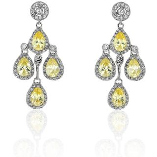 Dolce Giavonna Silver Overlay Yellow and White CZ Chandelier Earrings