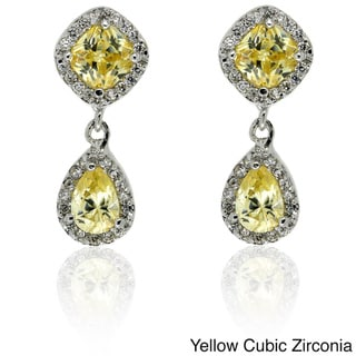 Dolce Giavonna Silver Overlay Yellow and White CZ Dangle Earrings