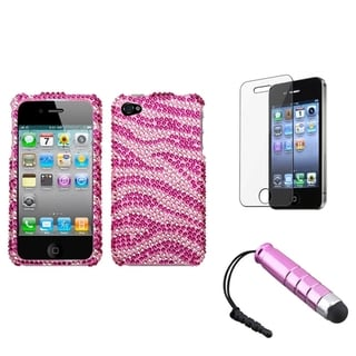 BasAcc Pink Zebra Case/ Stylus/ LCD Protector for Apple iPhone 4/ 4S
