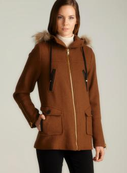 Sinequanone Hooded Jacket With Detachable Fur Lined Trim