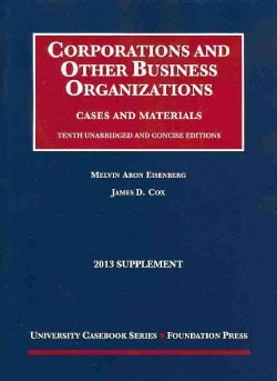 Corporations and Other Business Organizations 2013: Cases and Materials (Paperback)