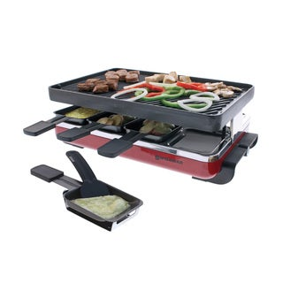 Swissmar KF-77046 Red/ Black Classic 8-person Raclette with Reversible Cast Iron Grill/ Griddle Plate
