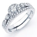 Oliveti Sterling Silver Prong-set Round-cut Cubic Zirconia Bridal-style Ring Set