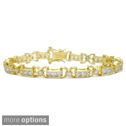 Simon Frank Goldtone or Silvertone Princess cut channel set Cubic Zirconia Link Bracelet
