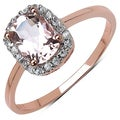 10k Rose Gold 1.20 Ct Genuine Morganite and Cubic Zirconia Ring