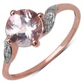 10k Rose Gold 1 1/2ct TGW Morganite and White Zircon Ring