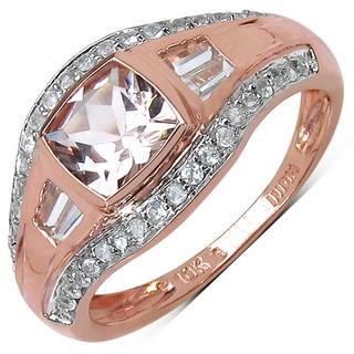 10k Rose Gold 1 2/5ct TGW Morganite, White Zircon and White Topaz Ring