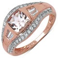 10k Rose Gold 1 2/5ct TGW Morganite, White Zircon and White Topaz Ring