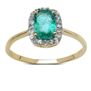 10k Yellow Gold 1ct TGW Emerald and White Zircon Ring