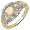 10k Yellow Gold 1.4 Ct Genuine Ethiopian Opal and Cubic Zirconia Ring