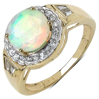 10k Yellow Gold 1.57 Ct Genuine Ethiopian Opal and White Topaz Ring