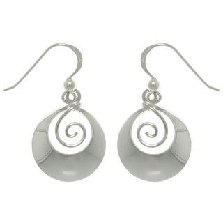 Carolina Glamour Collection Sterling Silver Round Framed Swirl Earrings