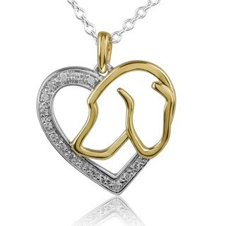 ASPCA Tender Voices Silver 1/10ct TDW Diamond Heart and Dog Necklace (I-J, I2-I3)