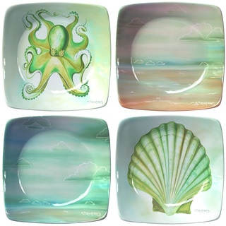 Coastal Assortment Porcelain Appetizer Plates (Set of 4)
