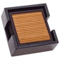 Bamboo Drink Coasters with Dark Walnut Holder (Set of 6)