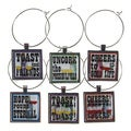 Wine Glass Charms Toast to Good Friends (Set of 6)