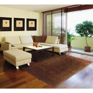 Modern Shag Rust/ Brown Polypropylene Rug (9'10 x 12'9)