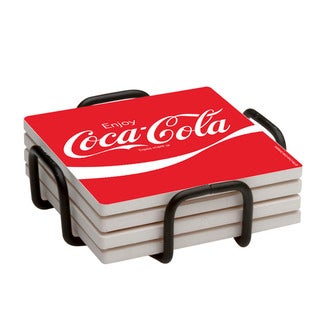 Occasions Enjoy Coca-Cola Drink Coaster Set with Holder (Set of 4)