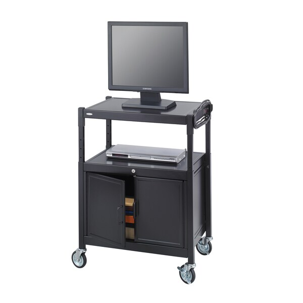 Safco Black Steel Adjustable AV Cart with Cabinet