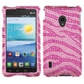 BasAcc Hot Pink/ Pink Zebra Skin Diamante Case for LG VS870 Lucid 2