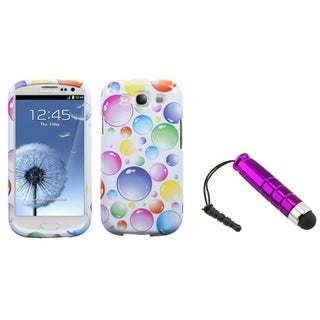 BasAcc Mini Stylus/ Rainbow Bubbles Case for Samsung Galaxy S III/ S3