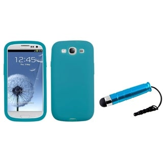 INSTEN Blue Mini Stylus/ Solid Skin Phone Case Cover for Samsung Galaxy S III/ S3