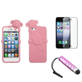 BasAcc Cute Pink Dog Case/ Stylus/ LCD Protector for Apple iPhone 5
