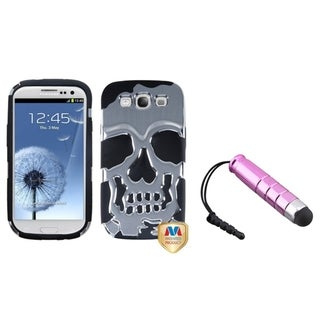 BasAcc Mini Stylus/ Skullcap Hybrid Case for Samsung Galaxy S III/ S3