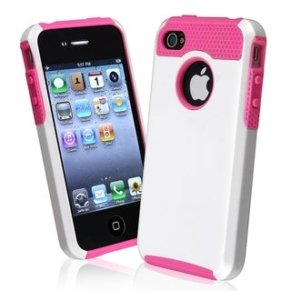 BasAcc Hot Pink TPU/ White Hard Hybrid Case for Apple? iPhone 4/ 4S
