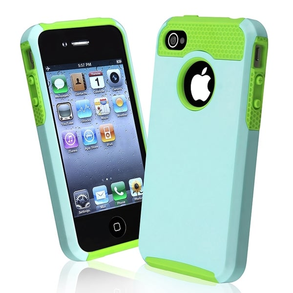 INSTEN Green TPU/ Light Blue Hard Plastic Hybrid Phone Case Cover for Apple iPhone 4/ 4S
