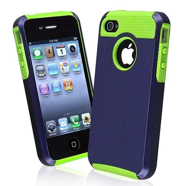 INSTEN Green TPU/ Dark Blue Hard Plastic Hybrid Phone Case Cover for Apple iPhone 4/ 4S
