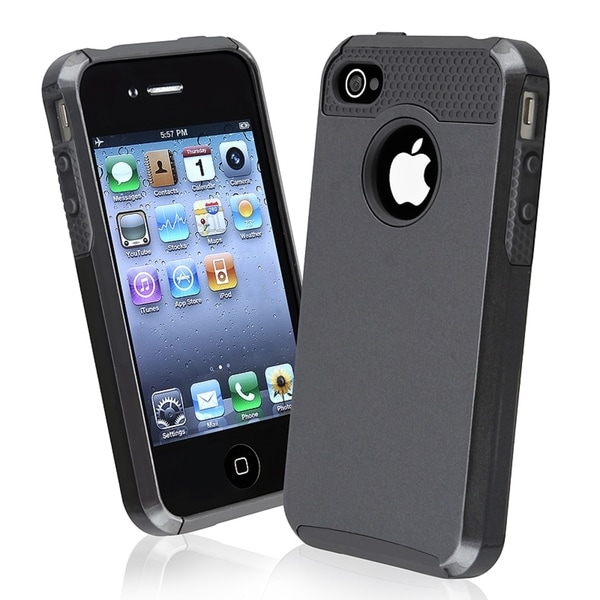 BasAcc Black TPU/ Black Hard Hybrid Case for Apple iPhone 4/ 4S