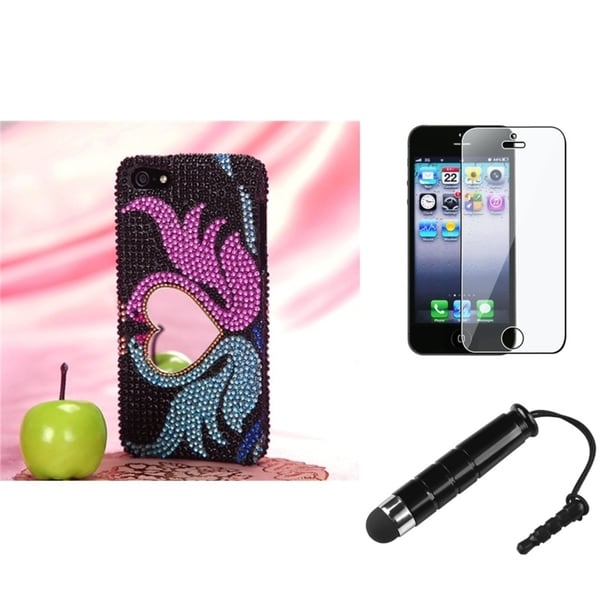 INSTEN Swan Heart Phone Case Cover/ Stylus/ LCD Protector for Apple iPhone 5