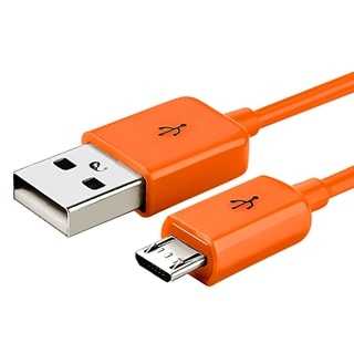 Insten 6-foot Orange Universal Micro USB 2-in-1 Charging Data Transfer M/ M Cable Cord for Samsung Galaxy S6/ Edge
