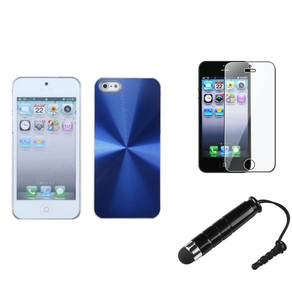 INSTEN Blue Cosmo Phone Case Cover/ Stylus/ LCD Protector for Apple iPhone 5