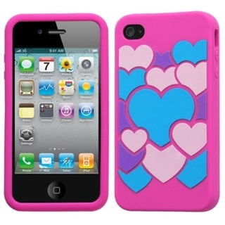 INSTEN Colorful Love/ Hot Pink Pastel Phone Case Cover for Apple iPhone 4S/ 4