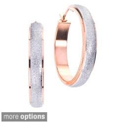 White, Rose or Black Ion-plated Stainless Steel Hoop Earrings