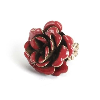 Sweet Romance Bronzetone Black Crystal and Red Enamel Rose Ring