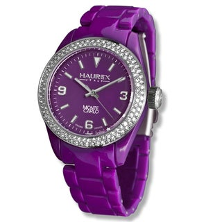 Haurex Women's 'Monte Carlo' Crystals-accented Purple Watch