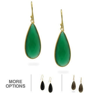Gioelli Jenne 14k Gold over Silver Black/ Green Onyx or Smokey Quartz Earrings
