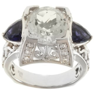 Dallas Prince Sterling Silver White Topaz, Iolite and White Sapphire Ring