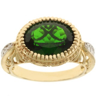 Michael Valitutti 14K Yellow Gold Chrome Bezel-set Diopside and Diamond Ring