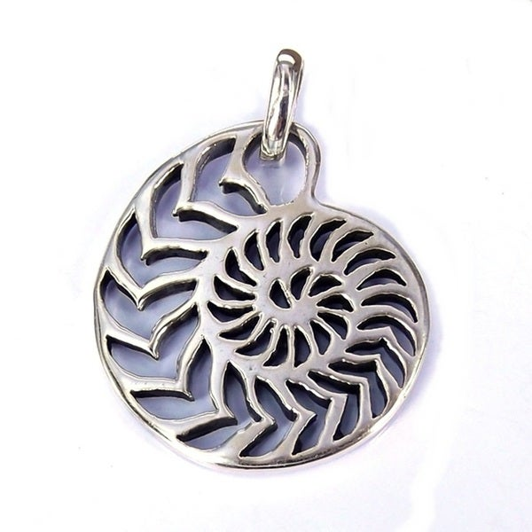 Silver Rare Sliced Nautilus Shell Pendant (Thailand)