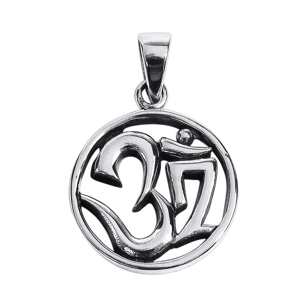 Silver Round 20mm Aum or Om Prayer Symbol Pendant (Thailand)